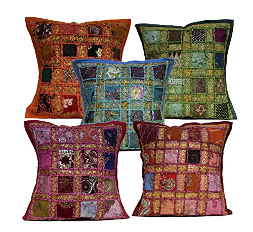 5PCS Multi Pailletten Patchwork indischen Stickerei Sari Überwurf Kissen Kissen 40,6x 40,6cm -