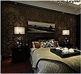 Yosot Retro Damaskus 3D Relief Vliestapeten Wohnzimmer Schlafzimmer Hintergrund Wand Tapete Dunkle Braun