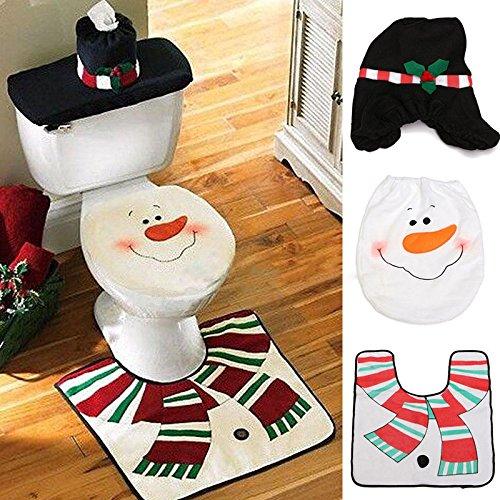 Teppich Santa (Weihnachtsdekoration Santa WC Set Sitzbezug & Teppich & Taschentuchbox Set Geschenk)