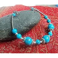 HRCxeuThe Yunnan Tibet Groupe ethnique du Népal le Bracelet Bijoux accessoires de style ancien argent tibétain fait main String Turquoise