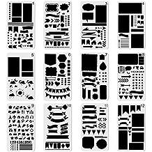 12pcs Plástico Bullet diario Stencil Set para diario Notebook planificador de grafiti de Recortes, DIY plantilla plantillas de dibujo y manualidades