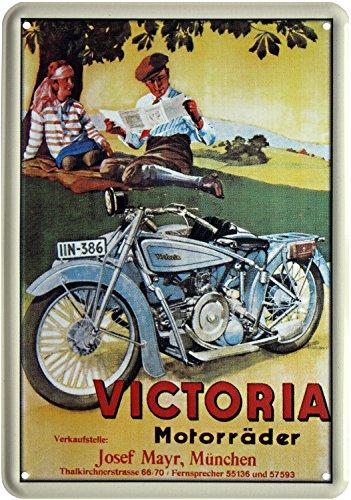 Blechpostkarte VICTORIA MOTORRÄDER MÜNCHEN 10x14cm Blechkarte PKM 13