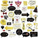 Konsait 2018 Nouvel An Parti Accessoires Photobooth Drôle DIY Kit Photo booth Props déguisement Masquerade chapeau Lunettes pour Nouvel An Eve Party Décoration Faveur