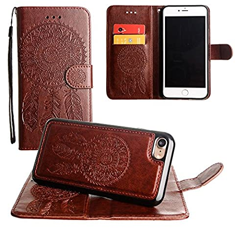 CellularOutfitter iPhone 6 Plus/6s Plus Leather Wallet Case Dream Catcher Embossed - Includes Detachable Matching Case and Wristlet - Brown