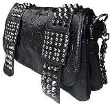 Rockabilly Punk Rock Baby Tasche Schwarz Skull Shadwos Nieten Schultertasche Handtasche Bag