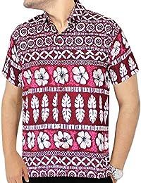 La Leela hibiscus floral bouton aloha bas camp chemise coupe décontractée courtes xs rouge manches pour hommes - 5xl