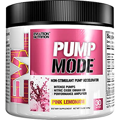 Evlution Nutrition Pump Mode Nitric Oxide Booster to Support Intense Pumps, Performance and Vascularity, 30 Serving from Evlution