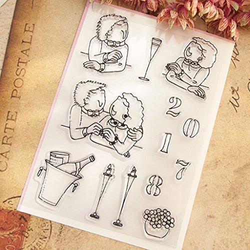wanfor CLEAR STAMP Liebhaber klar Silikon Gummi Siegel Stempel DIY Album Scrapbooking Foto Karte Decor Kid Geschenk