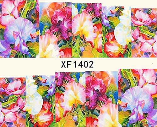 1 planche de Slider/Wrap/Full Cover Nail Stickers pour ongles, Hydrosoluble : XF 1402 de fleurs