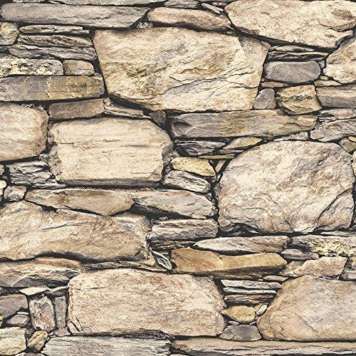 Nuwallpaper Adriano lavabo y diseño de muro de piedra, papel pintado, de vinilo, color marrón.