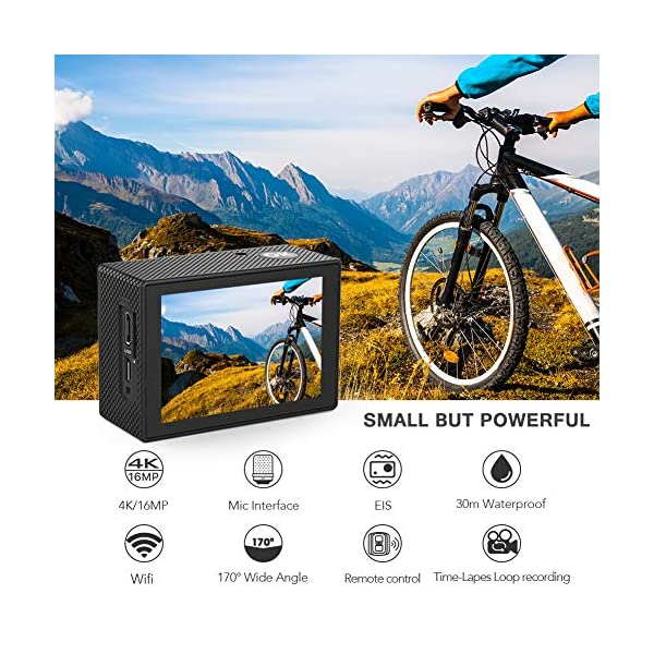 Crosstour 4K 20MP Action Camera Webcam WiFi EIS Waterproof 40M with External Microphone and Remote Control 2
