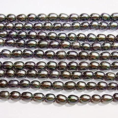 TheTasteJewelry 6-7mm Rice Black Freshwater Cultured Pearl Dyed 15 inches