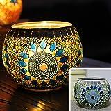 JEssie vaso candelero de cristal Lámpara de mesa de titular de vela electrónica para pub / decoración del hogar con diferentes diseños de patrón para elegir 105x80mm 70mm (I)