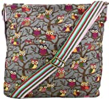 Kirsty Owl Print Slouchy Shoulder Bag in Grey