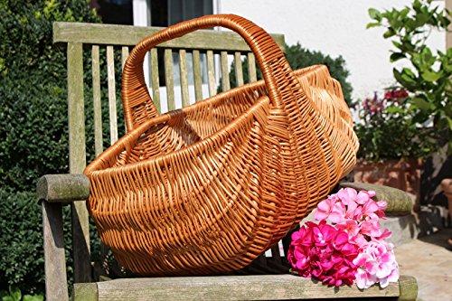 Einkaufskorb 'Indonesia' aus Weide, Weidenkorb Bügelkorb Picknickkorb, gross mit Griff, Handarbeit, sehr stabil - 50 x 32,5 x 38cm - von Alpenfell