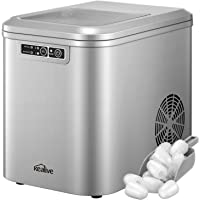 Kealive Machine à glaçons, 12 kg/24 h, 500 W, glaçons prêts en 6 à 10 minutes, 2,2 L, réservoir d'eau, minuteur, écran…