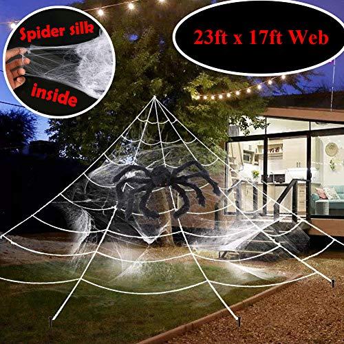 JUZNOY Halloween Deko Spinnennetz, Halloween Spinngewebe Deko, Halloween Spinnennetz Cobwebs White für Draussen Garten - 23 * 18 ft