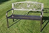 Metal Banco de jardín con hierro fundido 'Diseño de pájaros' respaldo