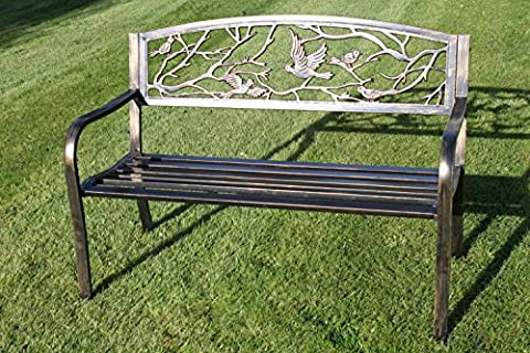 Metal Garden Bench with Cast Iron 'Birds Design' Back Rest With Cushion Worth £19.99