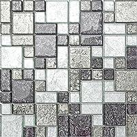GTDE - Azulejos de Mosaico de Cristal Plateado y Negro con Brillantes en Tres tamaños (MT0044 DE)