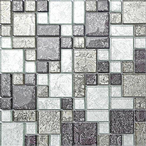Glas-mosaik-fliese (Glas Mosaik Fliesen Matte Schwarz und Silber mit Steinen in Drei Größen (MT0044) 30cm x 30cm)
