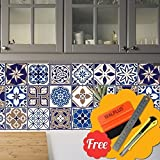 Walplus Entfernbarer selbstklebend Wandkunst Aufkleber Vinyl Wohndeko DIY Wohnzimmer Schlafzimmer Küche Dekor Tapete Spanish Blau Mix Wand Fliesen Aufkleber 48 stk. 15cm x 15cm