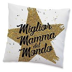 Idea Regalo - Babloo Cuscino Idea Regalo Festa della Mamma Miglior mamma del mondo 40x40 cm