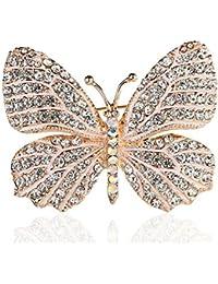 Belons Broche para pañuelos con diseño de mariposa, piedras de cristal incrustadas, ideal para bodas, banquetes o ramos de novia, para mujeres y niñas, en color negro y blanco