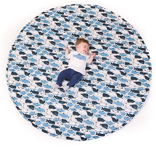 Manta de juegos para bebes XXL 160 cm plegable grande para gatear acolchada gimnasio suelo actividades alfombra Decoracion infantil Regalos bebe Varios modelos Fabricada en España (Happy Whales)