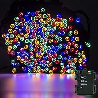 Luces de cuerdas Funciona con pilas, 200 luces LED de 20M / 66FT, 8 modos de iluminación Luces decorativas impermeables IP44 para el jardín, bodas, fiestas de Navidad
