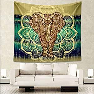 HENGSONG Wall Hanging Tapestry Elephant Tree Printed Mandala Tapestry Home Decor 150x130 CM, 210x150cm