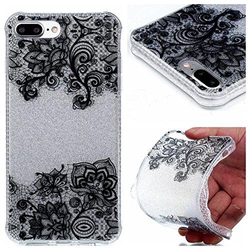 iPhone 8 Plus Coque, Voguecase TPU avec Absorption de Choc, Etui Silicone Souple Transparent, Légère / Ajustement Parfait Coque Shell Housse Cover pour Apple iPhone 8 Plus 5.5 (Fleurs de prunier 14)+  Fleurs en dentelle 08