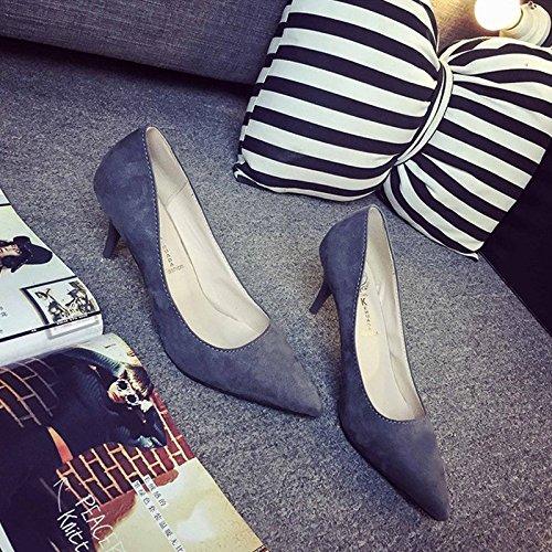 Fashion da donna, tacco a stiletto, tacchi alti, colore solido, semplice, sandali in camoscio a punta, scarpe comode Grey