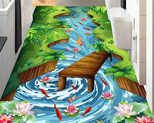 XCMB Fashion high aesthetic beautiful wallpaper river lotus flower pool stereo floor painting 3d flooring wall-450cmx300cm (Wasserdicht Meeres Stereo)