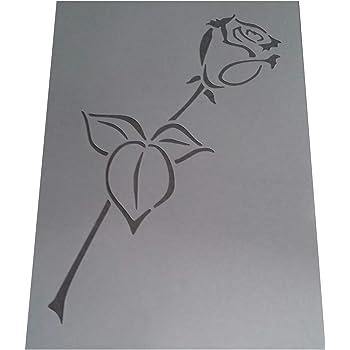 Shabby Chic Schablone Single Rose Blume Rustikal Mylar Vintage A4/297/x 210/mm Floral Art Wand