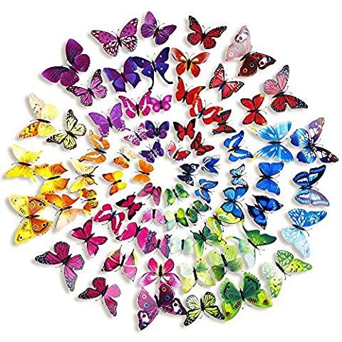 Mudder 6 Colors 3D Butterfly Removable Mural Stickers Wall Stickers Decal for Home and Room Decoration, 72