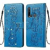 Tifightgo Custodia Blue Huawei P20 Lite 2019 Portafoglio in Pelle con Patta Flip PU con Goffratura Gatto e Tigre e Inglese Strass Manuale Decorazione Cover Libro Bumper Case per Huawei P20 Lite 2019
