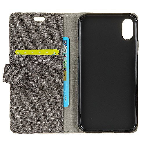 Casefashion Cover iPhone 8 Cassa Custodia Line Grain PU Leather Protettivo Case Flip Stand Cover Wallet Card Holders with Magnetic Closure Protettore for iPhone 8 (Black) Grigio