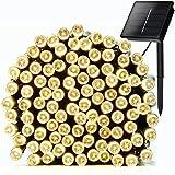 Coomatec 200 LED luz Solar cadenas ligeras de hadas para Navidad fiestas de boda de jardín Decoración del árbol (amarillo cálido)