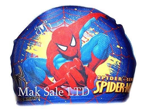 Cuffia da piscina in tessuto per bambini, 2-10 anni, motivo: spiderman, colore blu