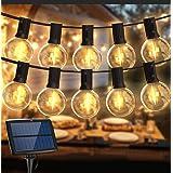 Guirlande Lumineuse Exterieur Solaire, BALIPPE Guirlande Guinguette Solaire avec 28 Ampoules et 2 de Rechange, 4 Modes d'Écla
