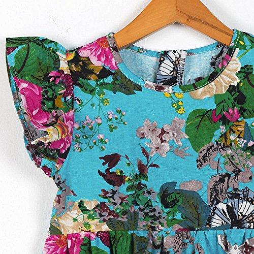 Baby Kapuzenpulli Honestyi Baby Mädchen Kinder Kleinkind Toddle Floral Sleeveless Party Kleidung Prinzessin Kleid (Blau,130)