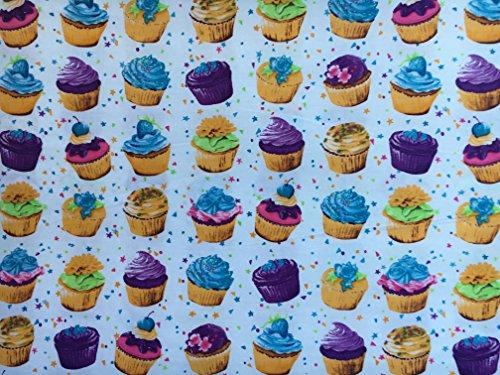 Cupcakes & Sterne mehrfarbig Druck auf weiß | 100% Baumwolle Stoff Material | für Nähen, Patchwork, Küche Schürze, dress-making | breit 147cm | Meterware (Küche Vorhänge Cupcakes)