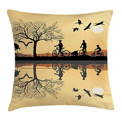Mountain Throw Pillow Cushion Cover, Silhouette of Strokes and a Family with Bicycles Near a Lakeside, Decorative Square Accent Pillow Case, 18 X 18 Inches, Earth Yellow Black Brown