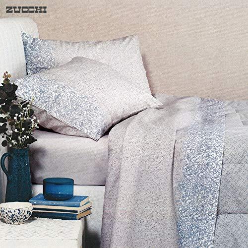 Zucchi completo letto in flanella matrimoniale basic articolo nifty col.grigio/blu + tavoletta profumo biancheria per armadi by biancocasa