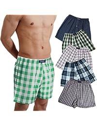 BRUBAKER lot de 6 Boxer-short hommes boxer shorts tissu caleçons en coton peu froissable