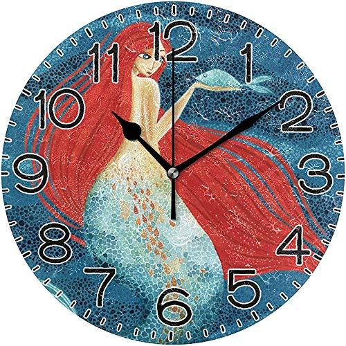 ALLdelete# Wall Clock Sirena con Pescado en la Mano Reloj de Pared Operado por batería Sin tictac Silencioso...