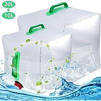 BESTZY 10L + 20l Sacchetto di Acqua Pieghevole Acqua Trasparente Contenitore Grande capacità Resistente per Il Campeggio/Arrampicata/Picnic/Sopravvivenza di Emergenza