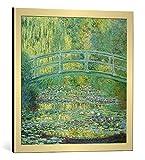 kunst für alle Bild mit Bilder-Rahmen: Claude Monet Seerosenteich und japanische Brücke - dekorativer Kunstdruck, hochwertig gerahmt, 60x60 cm, Gold gebürstet