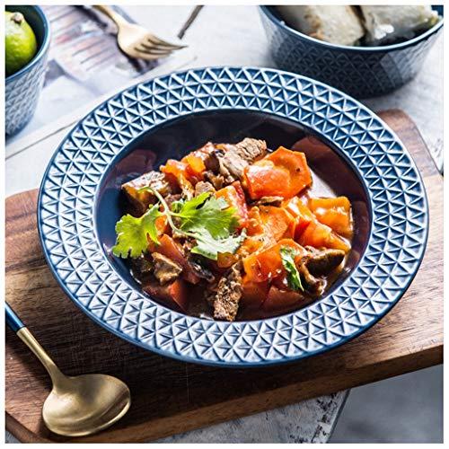 YYF Assiette gaufrée bleue en céramique de style européen - bol à soupe bol à riz 8 pouces (21 cm) (Taille : 21cmX3.2cm)